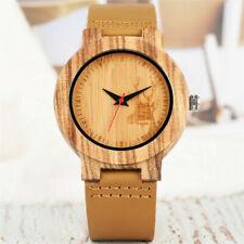 Modern Natural Wood Men's Quartz Analog Wrist Watch Bronw Leather Strap Band