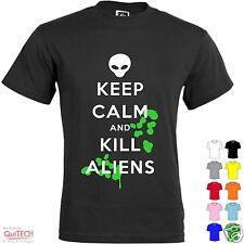 T-Shirt Keep Calm and Kill Aliens Maglietta Uomo-Donna Bianca-Colorata