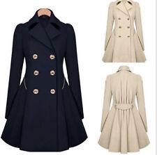 Damen Lapel Winter Warm Lang Parka Knöpfe Jacke Outwear Elegant Mantel S-5XL GS
