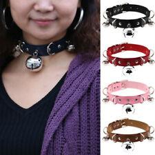 Women Small Bell Choker Lolita Maid BDSM Collar PU Leather Necklace Belt