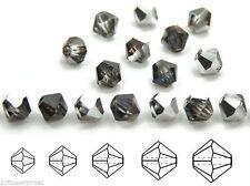 Czech MC Glass Bicone Beads (Rondell/Diamond) Crystal Bermuda Blue / Silver coat