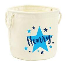 Personalised Canvas Toy Storage Tub Stars Boys Name Customised Bag Basket Box