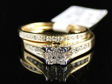 Women'S Ladies Yellow Gold Princess Cut Real Diamond Bridal Engagement Ring Set