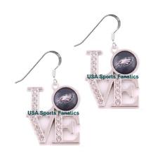 Philadelphia Eagles Team Love Earrings W/Rhinestones & 925 Ear Hooks