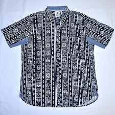 BODEGA Tribal Pocket Short Sleeve Button Down Shirt Black White