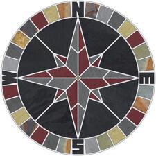 "48"" Tile Mosaic Medallion Natural Stone Mariners Compass Rose Black Multi Slate"