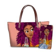2pcs/set Women Handbags Black Art Afro African Girl Hand Bag Wallets Tote Bag