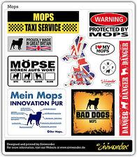 Auto Aufkleber Sticker MOPS COLLECTION DOG Sammlung reflex warning SIVIWONDER