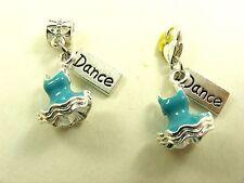 BLUE Silver 3D BALLET Tutu w/ DANCE Tag fits Clip ON Charm or European Bracelet