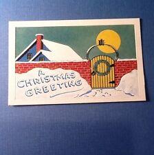 #D110- Vintage Unused Xmas Greeting Postcard Gated Home & Yellow Sun