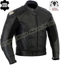 SPEED ICON MENS PREMIUM BLACK CE ARMOUR MOTORBIKE / MOTORCYCLE LEATHER JACKET
