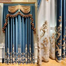 European embroidered blue velvet cloth blackout curtain valance tulle drape B650