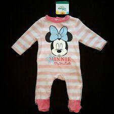 53a03130e8df2 DISNEY BABY pyjama velours bébé MINNIE MOUSE rayures rose 1 3 6 ou 9 mois