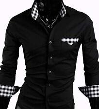 NUOVE uomo Casual Abito Shirts Slim - (#04) Nero/Grigio-Uk Taglia S/M/L/XL/XXL