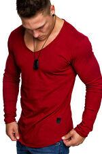 Oversize Herren Longsleeve Sweatshirt V-Neck Basic V-Ausschnitt Shirt 6060