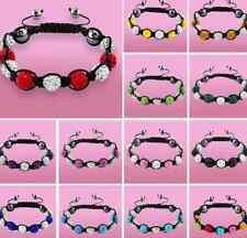 4pcs/lot 10mm mix free shipping Wholesale glass men crystal shamballa bracelet