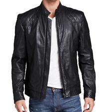 Men Genuine Cow Leather Jacket Biker Rock Punk Front Zip Harley Coat   - 239