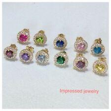 14K Gold Women/Children 12 Month Birthstone Round Halo Stud PUSH BACK Earrings