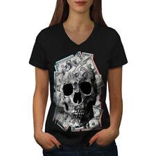 Cráneo Esqueleto De Dinero Rock Mujer Escote en V Camiseta Nuevo | wellcoda