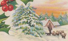 Shepherd Sheep Christmas Greetings Postcard