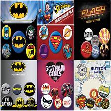 New DC 5 Pack Badges Batman Joker Superman Comics Superhero Pyramid Gift UK