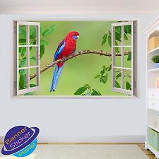 Rouge et bleu perroquet sur arbre 3D fenêtre autocollant mural chambre décoration autocollant murale