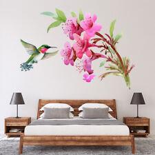 Tropische Vogel Roze Bloemen Muursticker WS-47152