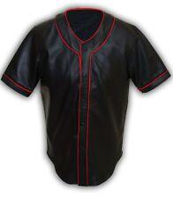 Mens Real Soft Sheep NAPPA Black Leather Base Ball Jersey Shirt - (BBS1-RP)