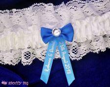 Personalised Royal Blue & White Garter Wedding, Handmade Lingerie Crystal Bride