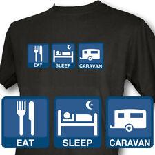 Eat Sleep Caravan Mens Black T-Shirt VW Combi Camper