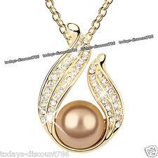 Bronce Perla Cristal Oro Collar Con Colgante Navidad Regalo Para Ella Esposa