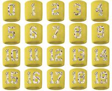 #0-19 Number Sweatband Wristband Football Baseball Basketball Yellow Gold Money