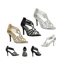 s344 - donna alto con tacchi strass nozze sera sandali scarpe - UK 3 - 8