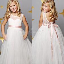 Blumen-Mädchen Kinder Festkleid Hochzeit Tüll Kommunionkleid Prinzessin 92-152