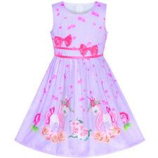 US STOCK! Girls Dress Purple Unicorn Flower Summer Sundress Size 4-12
