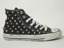 Converse all star Hi borchie teschi scarpe donna uomo NERO artigianali
