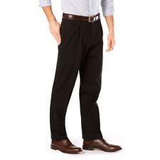 Dockers Negro Plisado Al Frente Corte Clásico D3 Iron-Free Pantalones Algodón