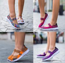 Women Woven Light Weight Elastic Trainer Comfort Slip On Sport Water Shoes