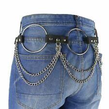 38mm Ring Double Chain Metal Stud Leather Mens UK Handmade Heavy Chain Belt B866