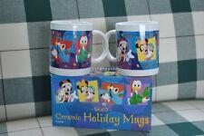 Mickey Mouse Minnie Goofy Donald Duck Christmas Mug Set of 2 MIB NEW Rare