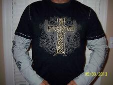 Under Gear Body Black & Gray Long Sleeve Shirt  Gold Cross Embroidered Sz.M, XL