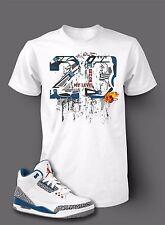 10276ac173ce StreetWear 23 Shatter Tee Shirt To Match AIR JORDAN 3 TRUE BLUE Shoe Men  White