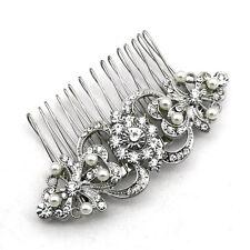 Vintage Style Corsage Bridal White Silver Rhienstones Brooch or Hair Comb