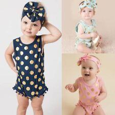New Design Baby Girls Golden Dot 2PCS Romper Headband Clothes Jumpsuit Baby Polk