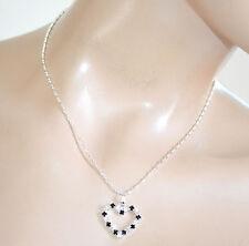 COLLANA donna ciondolo cuore argento nero strass girocollo san valentino F315