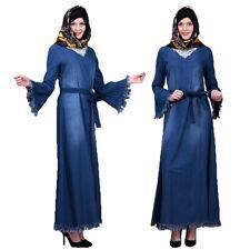 Autumn Denim Maxi Dress Tassel Long Sleeve Dresses Abaya Muslim Kaftan Robe Gown