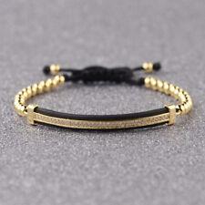 Men Women Hand-Woven Macrame Bracelets White Micro Pave CZ Long Strip Bracelets