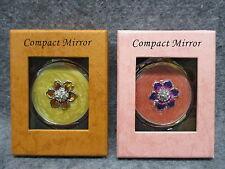 Compact Mirror w/ Enamel Flower Design & Rhinestones Pink Or Orange NEW GIFT