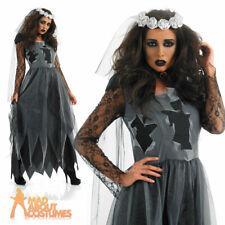 Ladies Corpse Bride Costume Halloween Fancy Dress Costume Gothic Adult Plus Size
