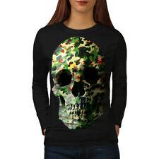 Army Metal Badass Skull Women Long Sleeve T-shirt NEW | Wellcoda